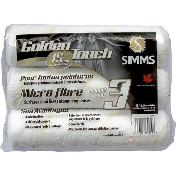 Simms 15mm Microfiber roller refills- 3 Pack